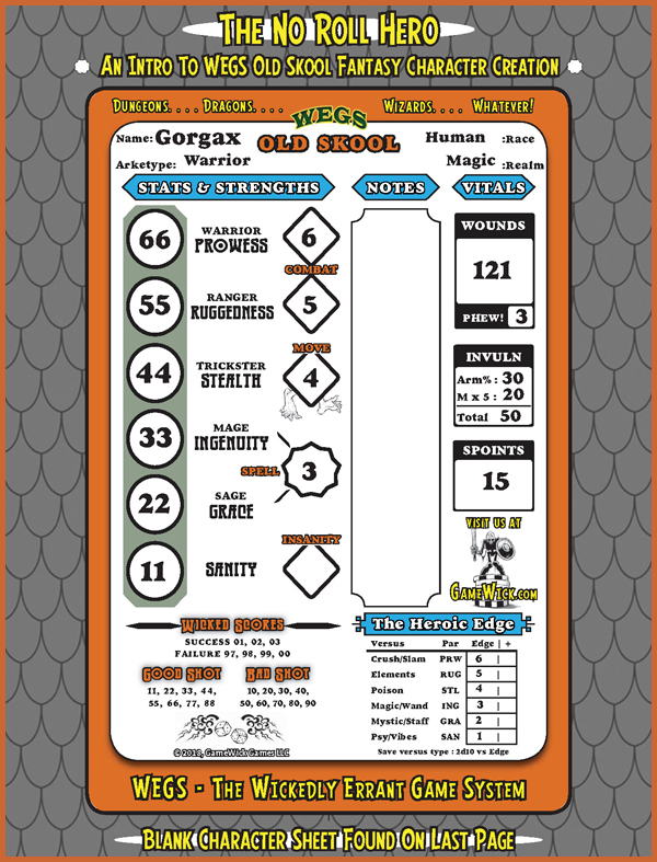 The No Roll Hero Character Sheet